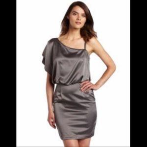 Jessica Simpson Steel Satin One-Shoulder Dress NWT